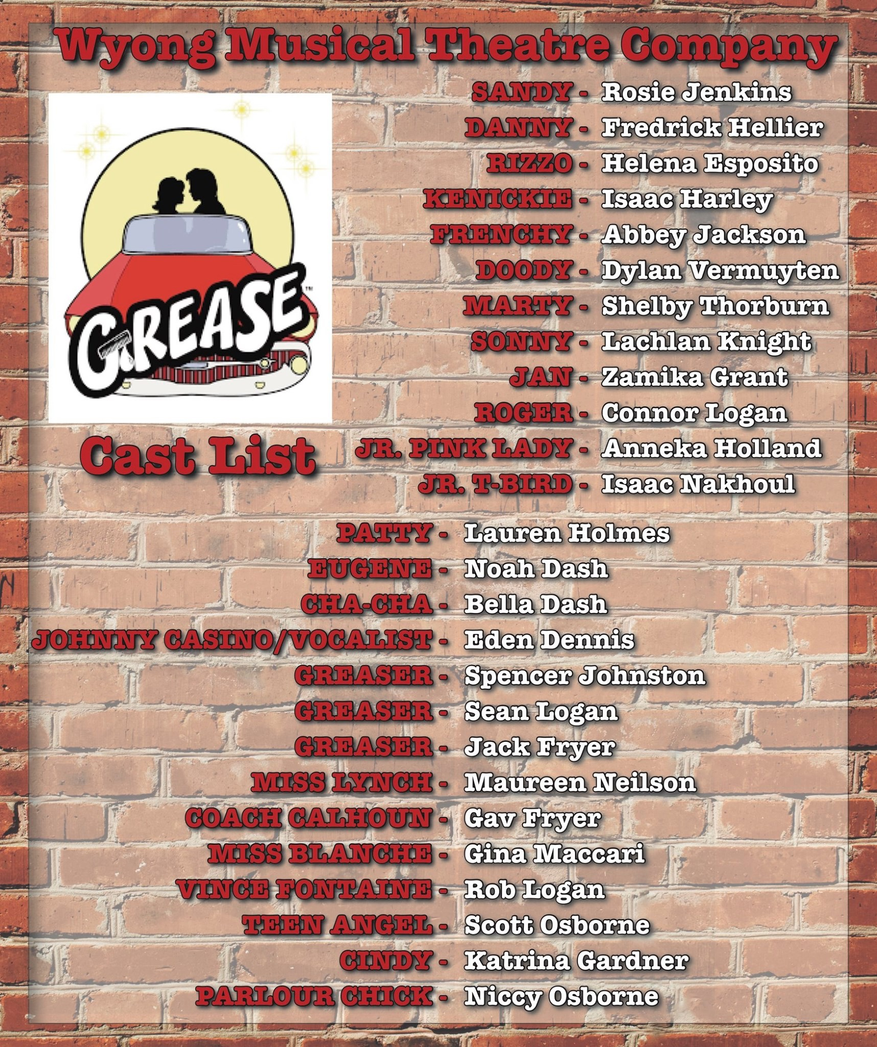 Grease Cast List